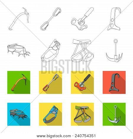 Hook, Mountaineer Harness, Insurance And Other Equipment.mountaineering Set Collection Icons In Outl