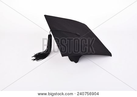 Graduation Cap With Back Tassel Isolated On White Background With.