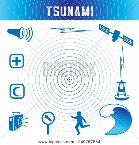 Tsunami Icons And Symbols In Ocean Blue: Earthquake Epicenter, Satellite And Transmission, Tsunami D