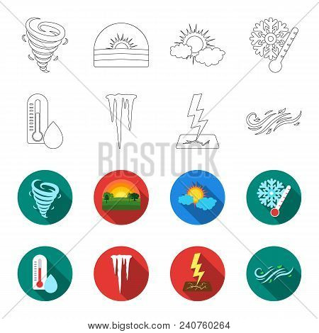 Humidity, Icicles, Thunderbolt, Windy Weather. Weather Set Collection Icons In Outline, Flat Style V