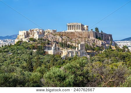 Beautiful View Of The Acropolis In Athens, Greece. The Ancient Greek Parthenon On Acropolis Hill Is