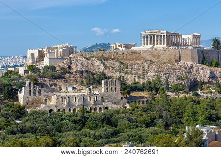 Scenic View Of The Acropolis Of Athens, Greece. The Ancient Greek Parthenon On Acropolis Hill Is The