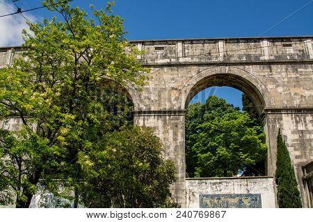 View Of The Mae De Agua Roman Water Aqueduct  In Lisbon, Portugal.