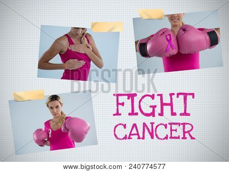 Fight cancer text and Breast Cancer Awareness Photo Collage