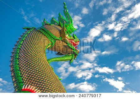 Naga - Mythological Giant Serpent Statue. Colorful And Intricate Details Of Serpent-like Statue Is C