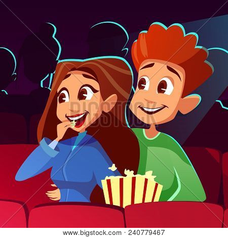 Couple In Cinema Vector Illustration Of Young Boy And Girl Watching Movie Together. Cartoon Teens Or