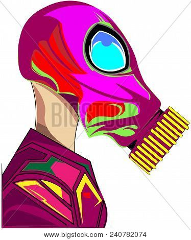 Vector Illustration Design Of Hand-drawn Black And White Human In Gas Protection Mask Isolated On Wh