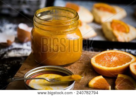 Homemade orange marmalade food photography recipe idea poster