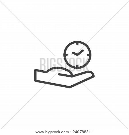 Hand And Clock Outline Icon. Linear Style Sign For Mobile Concept And Web Design. Time Care Simple L
