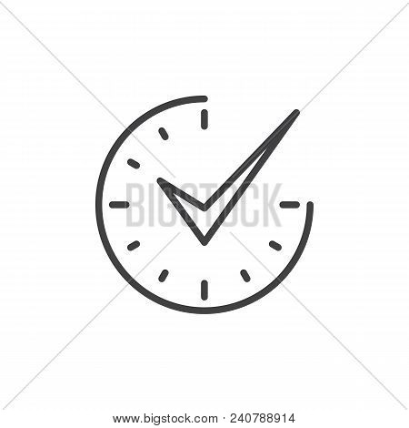 Check Mark On Clock Outline Icon. Linear Style Sign For Mobile Concept And Web Design. Real Time Pro