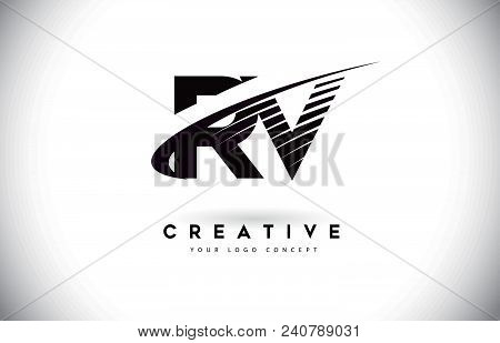Rv R V Letter Logo Design With Swoosh And Black Lines. Modern Creative Zebra Lines Letters Vector Lo
