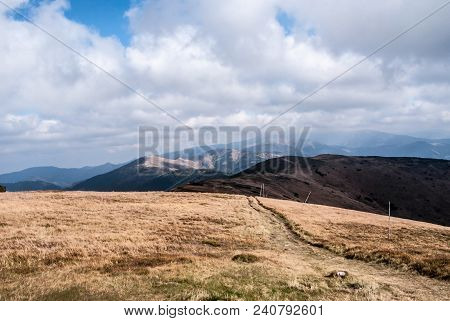 View From Velka Chochula Hill In Westernmost Part Of Nizke Tatry Mountains In Slovakia With Mountain