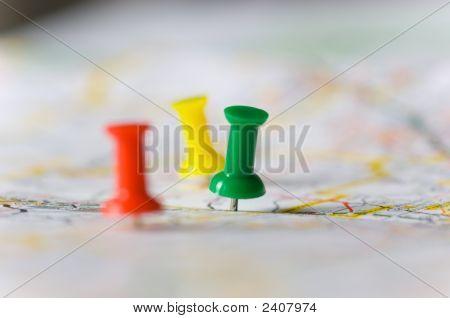 Pushpins On A Map