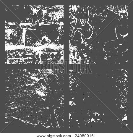 Set Grunge Black And White Distress Texture. Wall Background. Vector Illustration.simply Place Illus