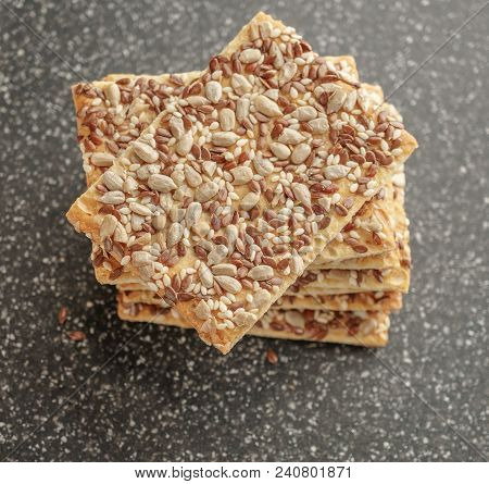 Cookies With Cereals, Healthy Cookies With Sunflower Seeds, Flax Seeds And Sesame Seeds.