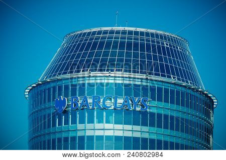 Vilnius, Lithuania - May 10, 2018: Barclays Bank Sign And Logo On The Vilnius Barclays Bank Office B