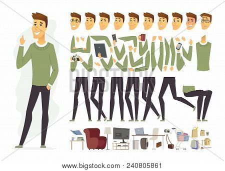Cute Man - Vector Cartoon People Character Constructor Isolated On White Background. Young Person We