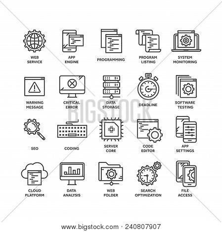 Seo And App Development. Search Engine Optimization. Internet, E-commerce.thin Line Black Web Icon S