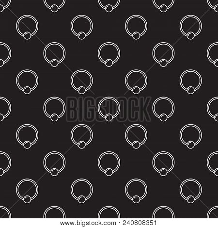 Piercing Jewelry Dark Vector Seamless Pattern Made With Outline Captive Ring Icons