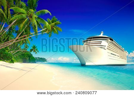 3D cruise ship at a tropical beach
