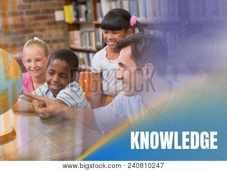 Knowledge text and Elementary school teacher with class
