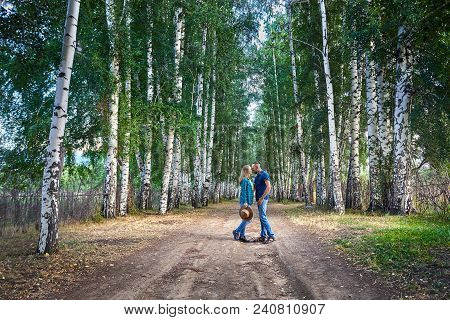 Hipster Couple In The Birch Wood