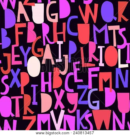 Red Pink Blue Seamless Pattern With Abc Or Alphabet. Hand Drawn Letters Dark, Black White Hand Cutte