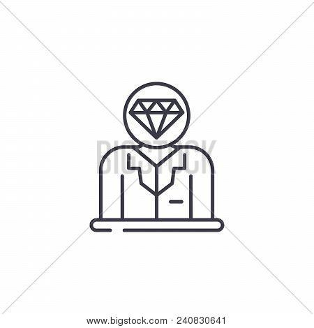 Valuable staff line icon, vector illustration. Valuable staff linear concept sign. poster