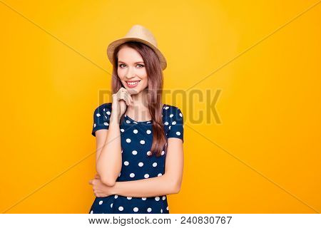 Portrait Of Charming, Pretty, Nice, Kind, Sexy, Professional Woman In Polka-dot Clothes Holding Hand