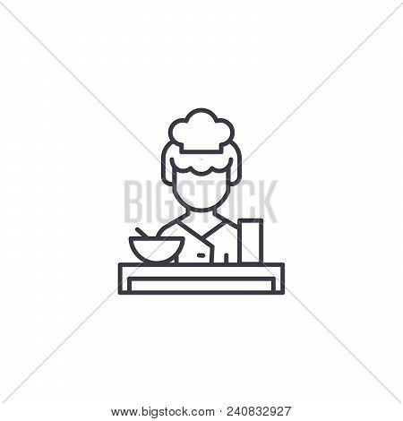 Waitress Line Icon, Vector Illustration. Waitress Linear Concept Sign.