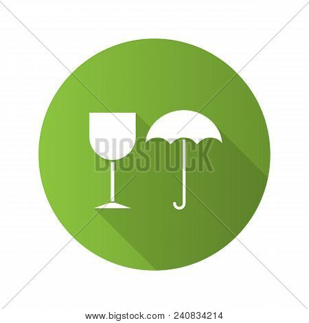 Fragile Flat Design Long Shadow Glyph Icon. Keep Dry. Handle With Care. Vector Silhouette Illustrati