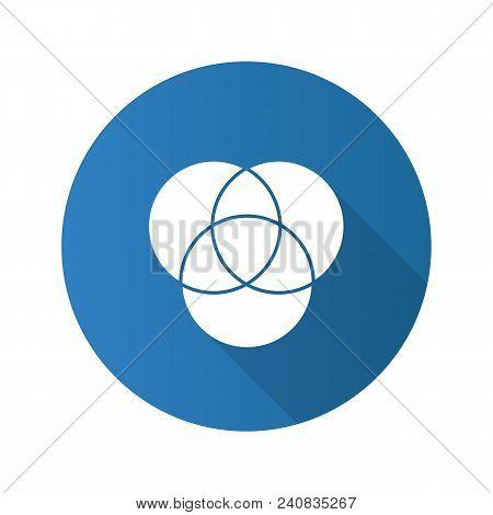 Cmyk Or Rgb Color Circles Flat Design Long Shadow Glyph Icon. Venn Diagram. Overlapping Circles. Vec