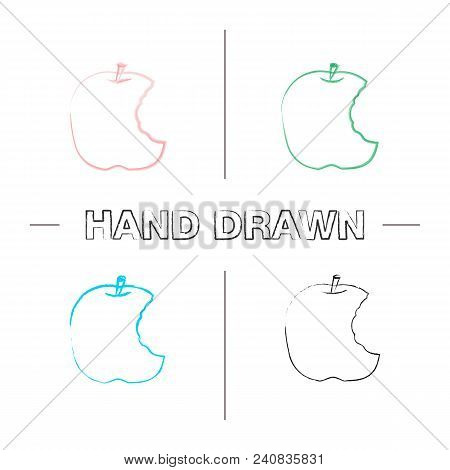 Bitten Apple Hand Drawn Icons Set. Color Brush Stroke. Healthy Teeth. Isolated Vector Sketchy Illust