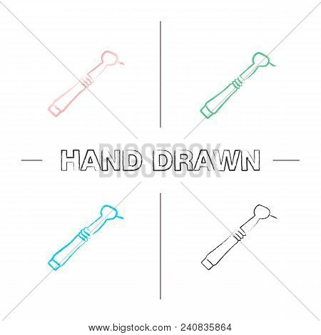 Dental Drill Hand Drawn Icons Set. Dental Handpiece. Color Brush Stroke. Isolated Vector Sketchy Ill