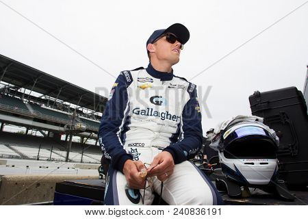 May 12, 2018 - Indianapolis, Indiana, USA: MAX CHILTON (59) of England gets suited up prior to practice for the IndyCar Grand Prix at Indianapolis Motor Speedway Road Course in Indianapolis, Indiana.