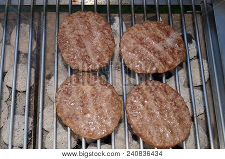 Finest Beef Hamburger Patties On The Barbecue