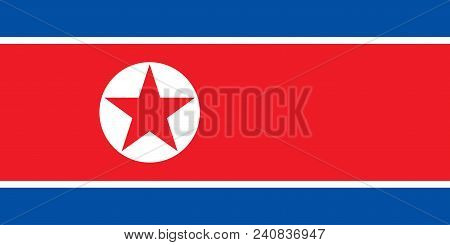 North Korea National Flag. Official Colors And Proportion. Vector Flag Of North Korea.