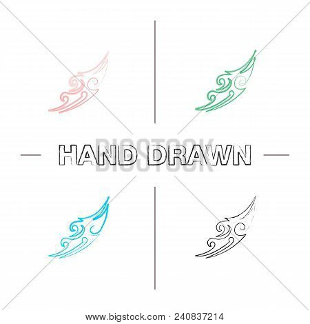 Tattoo Image Hand Drawn Icons Set. Color Brush Stroke. Tattoo Sketch. Isolated Vector Sketchy Illust