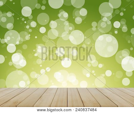 Empty Wooden Table With Blurred Bokeh Background,product Display Montage Concept,template Mock Up Fo