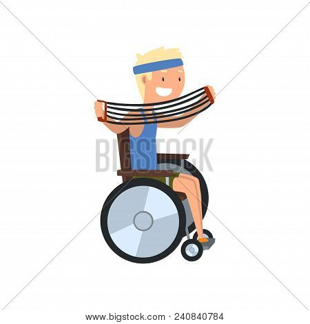 Disabled Man In Wheelchair Exercising With Shoulder Expander, Medical Rehabilitation, Remedial Gymna