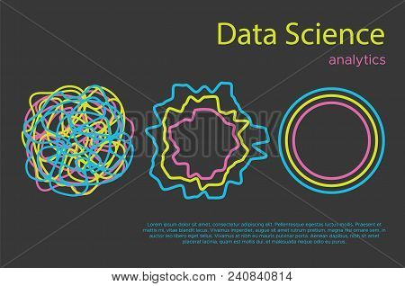 Big Data Science Vector Illustration. Machine Learning Algorithm For Information Filter And Anaytic