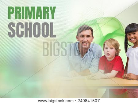 Elementary school text and teacher with class