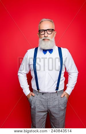 Retro Portrait Of Cool, Elegant, Brutal, Sexy, Strong Old Barber, Stylist With Blue Suspenders And B