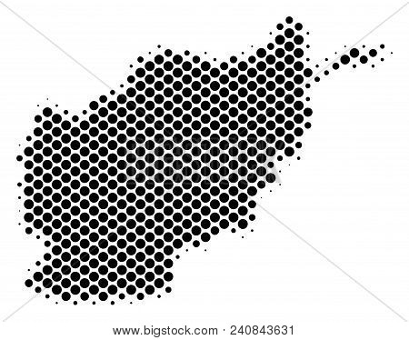 Abstract Afghanistan Map. Vector Halftone Geographic Scheme. Cartographic Dotted Abstraction. Schema