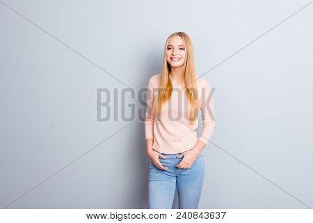 People Lifestyle Leisure Joy Fun Enjoy Person Concept. Portrait Of Pretty Careless Beautiful Cute Sw