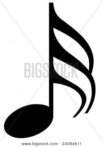 Thirty-second note on a white background