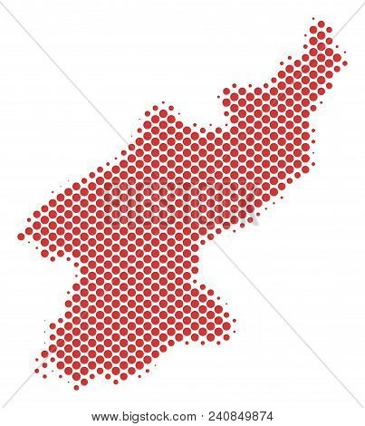 Abstract North Korea Map. Vector Halftone Geographic Plan. Cartographic Pixelated Composition. Schem