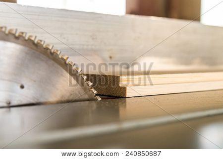 Closeup Image Of Teeth Of Circular Saw In Carpentry