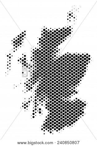 Abstract Scotland Map. Vector Halftone Territory Plan. Cartographic Pixel Composition. Schematic Sco