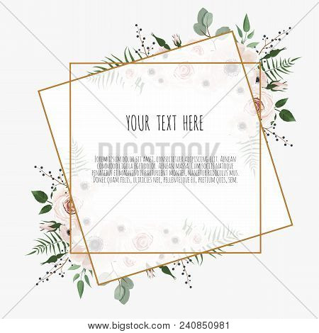 Card With Leaves And Geometrical Frame. Floral Poster. Floral Poster, Invite. Vector Decorative Gree